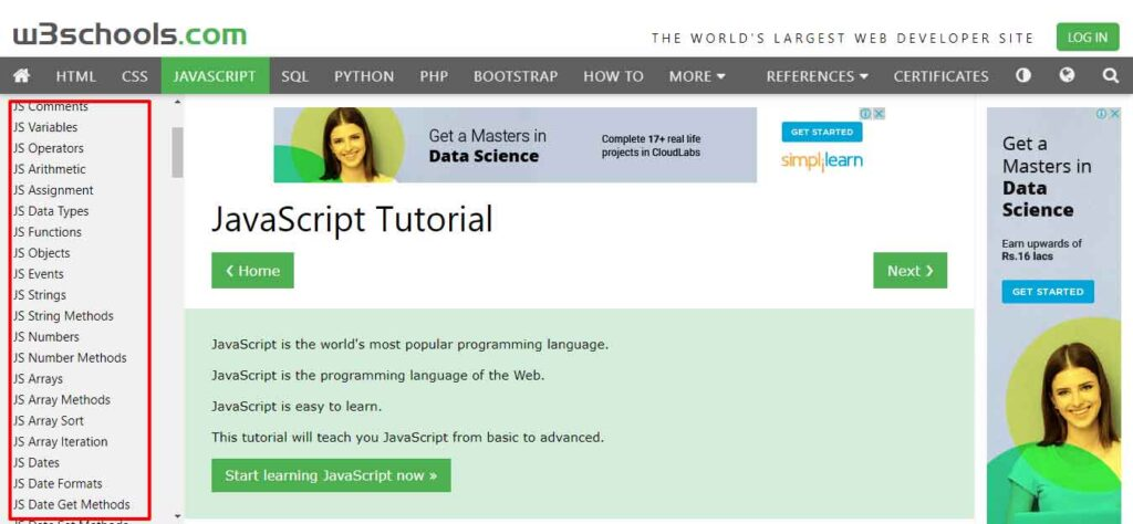 A Smarter Way to Learn JavaScript - w3school