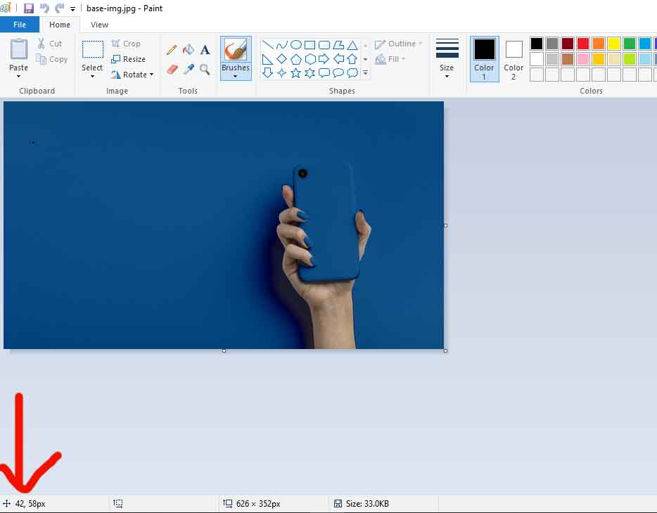 find the x, y coordinate of the image using Paint tool